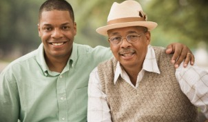 elderly father adult son caregiver dementia AD