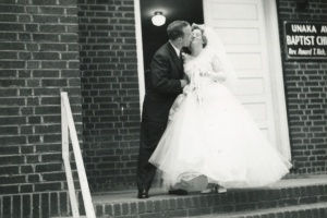 Daddy and Mama Kissing Outside the Church June 9, 1956