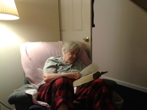 Mama studying her Bible